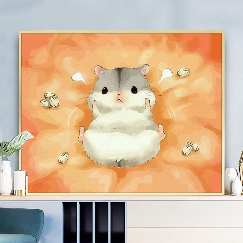 缘色数字油画diy手工填色减压动漫卡通手绘仓鼠装饰画儿童油彩画图片