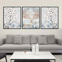 3d招财鹿定制欧式玄关装饰画手绘现代简约走廊过道壁画发财树油画