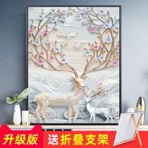 大气组合三联手绘抽象挂画客厅沙发背景画新中式北欧玄关装饰油画