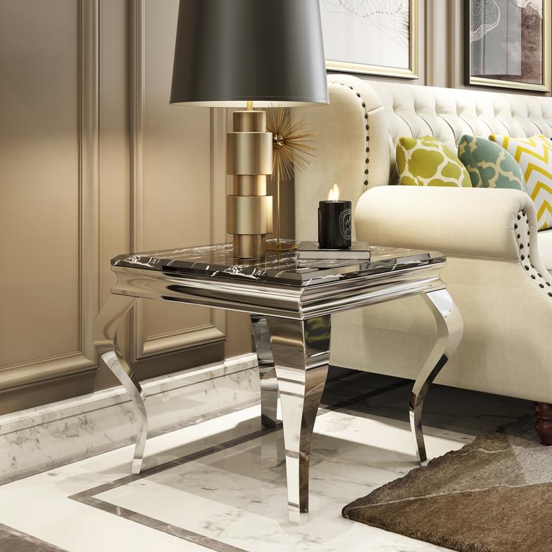 角のいくつかのソファーの辺のいくつかのヨーロッパ式のステンレス大理石電話のいくつかの四角形のアイデアの小さな部屋型の小さいお茶何商談テーブル