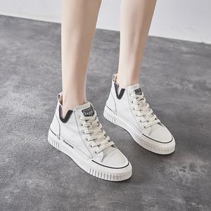 真皮小白鞋女秋季鞋子女2020年新款女鞋高帮休闲鞋百搭帆布鞋板鞋