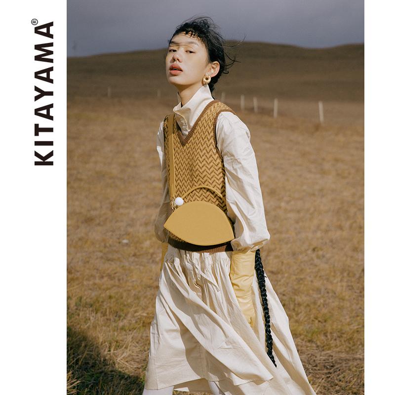 KITAYAMA《荒野》オリーブバッグオリジナルミニチュアビーズ携帯ストラップ斜めショルダーバッグ