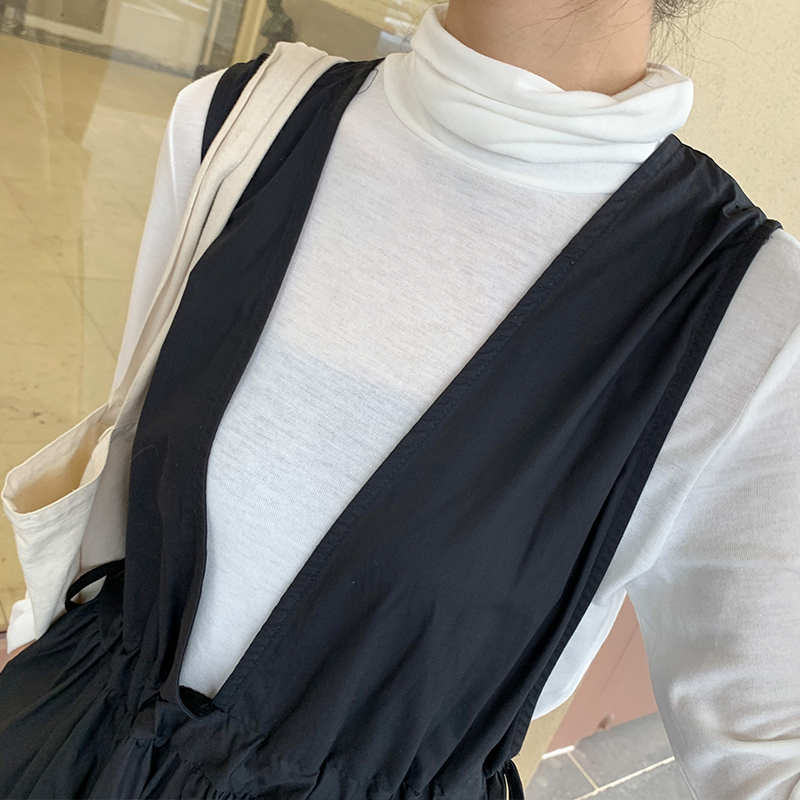 Bogu white Long Sleeve T-Shirt womens spring and autumn Korean loose thin versatile student solid color with high collar