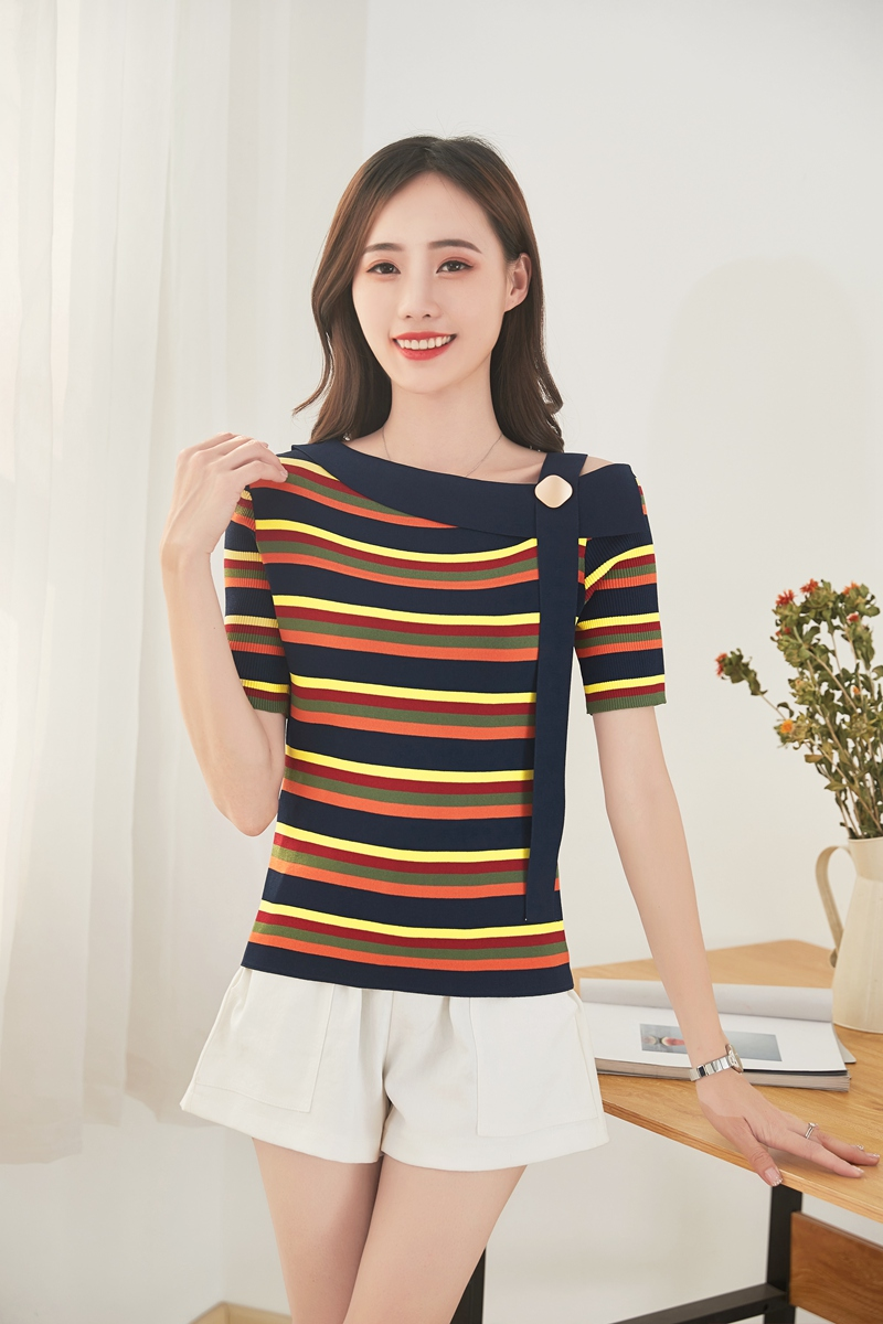 Ice silk short sleeve T-shirt womens 20 summer new fashionable and versatile striped Strapless Strapless striped one line collar T-Shirt Top