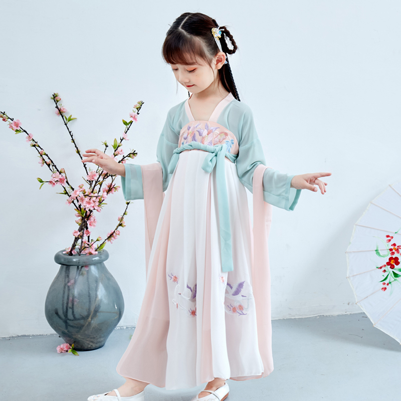 Girls Han clothes ancient clothes super fairy Ru skirt spring and autumn clothes childrens Fairy clothes Tang clothes summer clothes Chinese style childrens dress