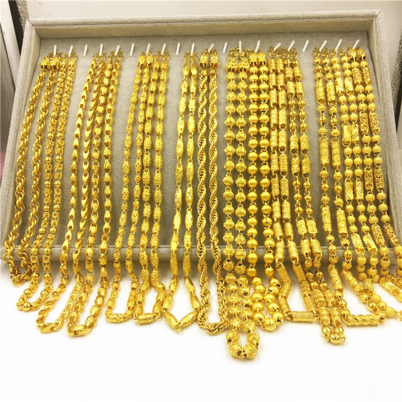 Non fading brass plated heavy gold jewelry chain, mens double dragon head chain, Vietnam Shajin jewelry stall source