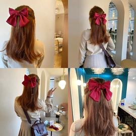 韩国网红红色大蝴蝶结发卡头饰可爱马尾发夹lolita发饰后脑勺夹子图片