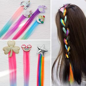 儿童彩色编发绳辫子七彩绑头发发饰发夹女童脏脏辫嘻哈渐变色彩带
