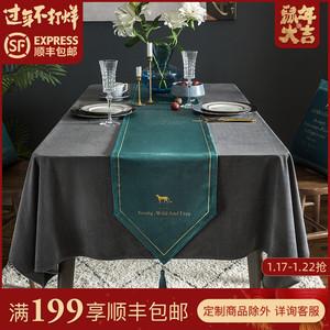 美式轻奢桌旗北欧餐桌布长条现代简约茶几布鞋柜电视柜布高档奢华