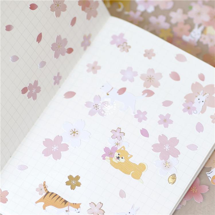 日式MW 樱花祭和风纸质贴纸 手帐装饰贴纸 单片装 4款可选