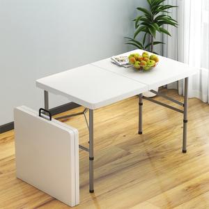 折叠餐桌子户外摆摊便携式家用长条桌简易长方形桌椅学习吃饭小桌