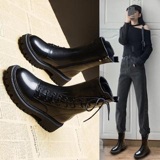 真皮马丁靴女英伦风2020年新款靴子女鞋加绒秋冬鞋子百搭冬季短靴