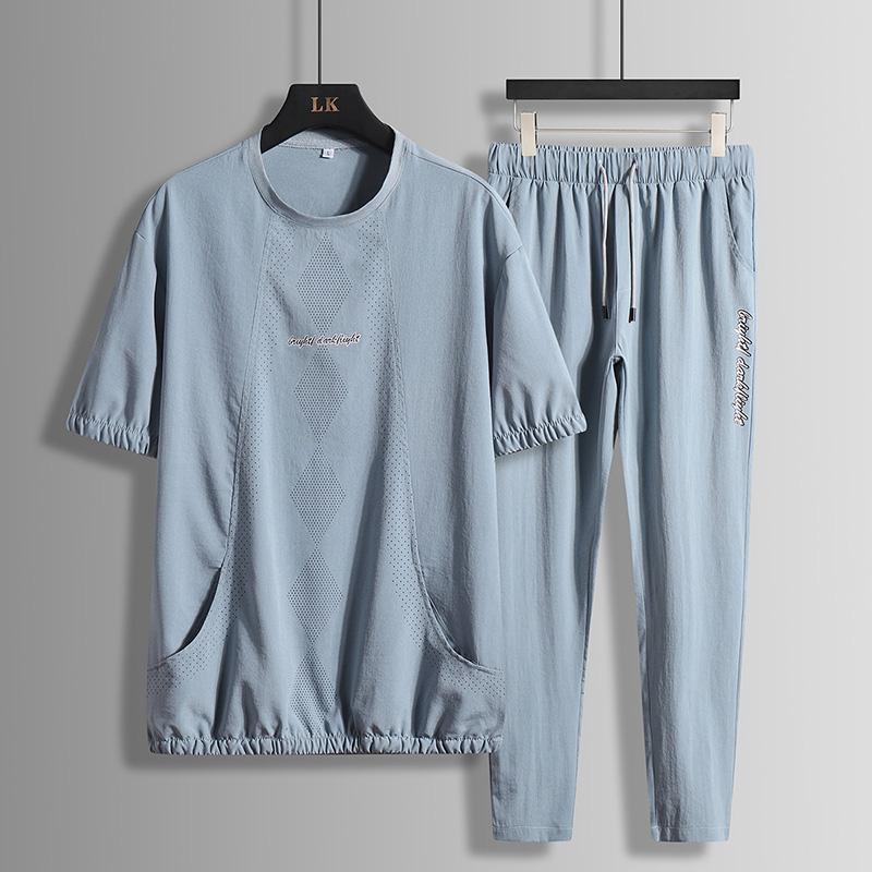 男士休闲运动套装2020夏季新款透气圆领纯色薄款体桖潮流百搭套装