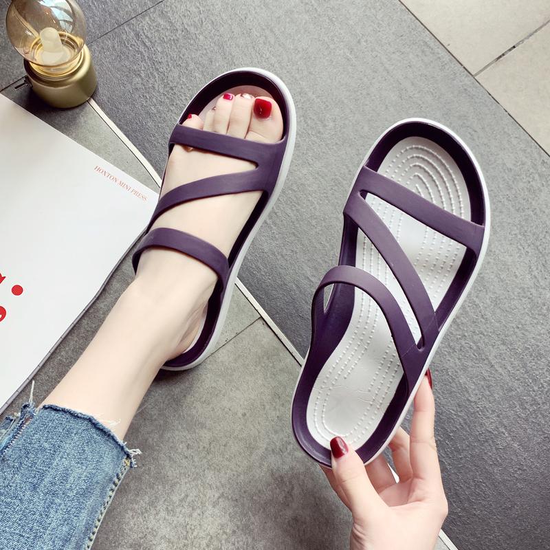 下雨天拖鞋女外穿2021夏季舒服沙滩鞋孕妇鞋软底果冻鞋可湿水防滑