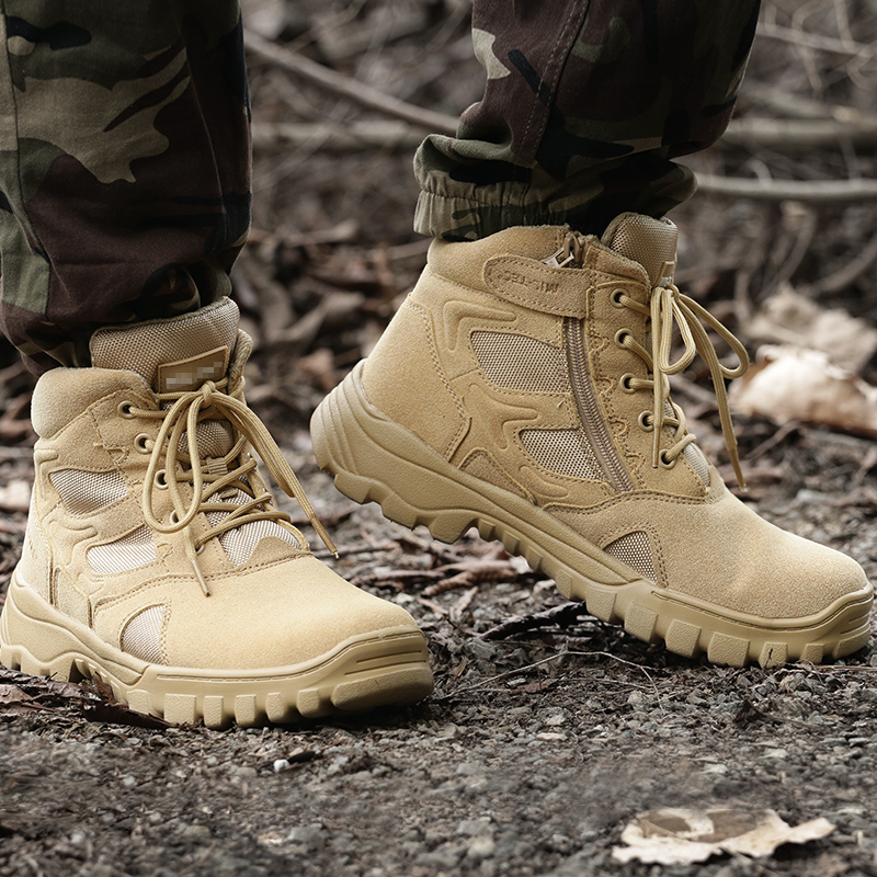 Outdoor mountaineering travel shoes mens high top outdoor casual shoes walking shoes anti slip shock absorption middle top combat boots paratroopers boots