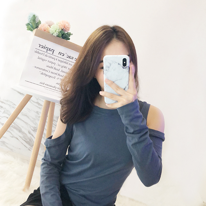 Jenny long sleeve T-shirt womens 2018 autumn round neck ins slim short solid off shoulder Korean chic top