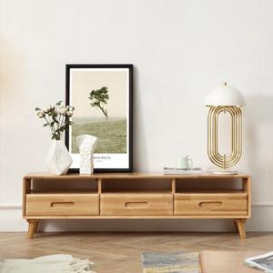 北欧实木创意电视柜北欧地柜原木全实木影视墙柜储物柜客厅家具