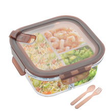 Glass Separated Lunch Box Korean Student Office Worker Microwave Preservation Box Glass Bowl with Covered Lunch Box Bento Box
