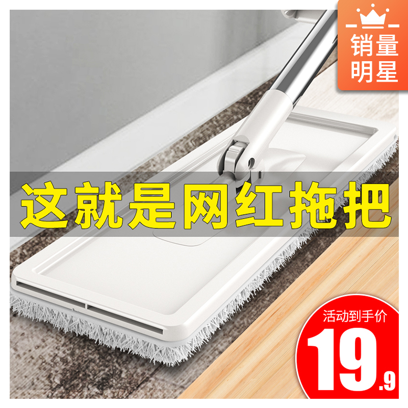 免手洗平板拖把家用懒人网红拖地神器木地板一拖干湿两用地拖布净