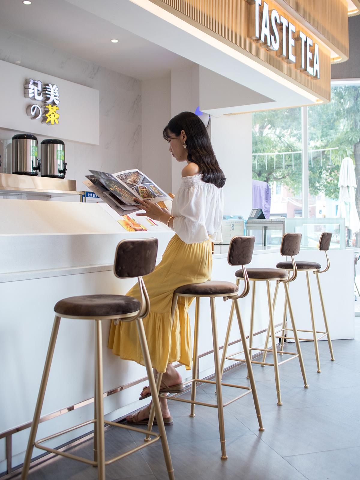 北欧网红吧台椅现代简约家用靠背餐椅子高脚凳咖啡厅酒吧椅休闲凳