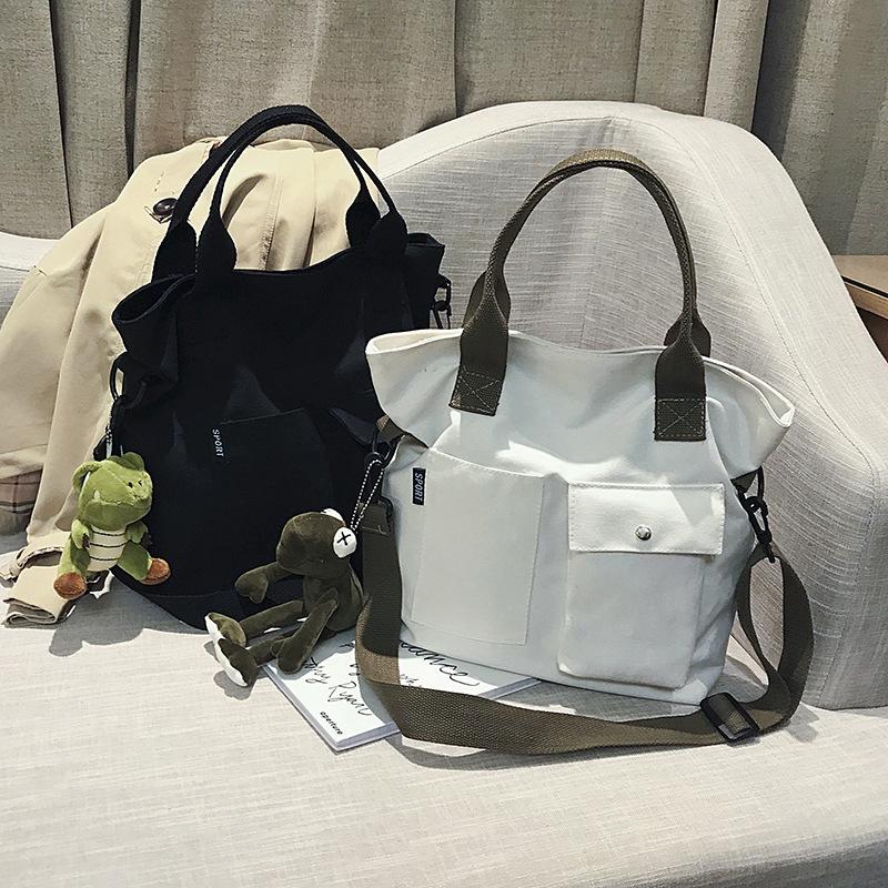 中國代購 中國批發-ibuy99 女包 大学女生包包上课新款2021新品手提斜挎两用女包上课通勤包帆布包