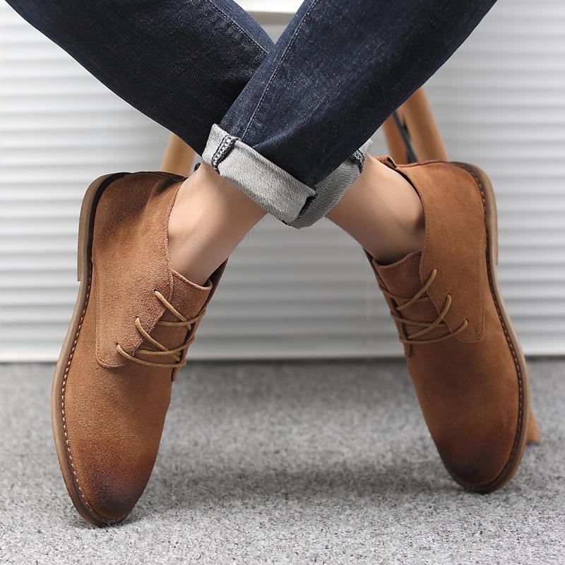 夏季马丁靴男英伦中高帮百搭工装鞋真皮磨砂反绒皮复古皮鞋沙漠靴