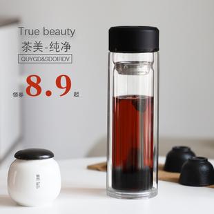 便攜雙層玻璃杯女家用男茶杯定製水杯批發禮品廣告杯子刻印字logo
