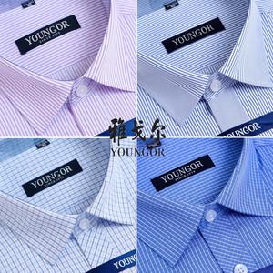 夏季清仓价雅戈尔长袖衬衫男士白色衬衣免烫纯棉官方商务正装格子