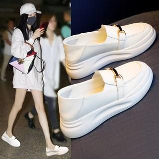 小白鞋夏季2021年新款春秋爆款鞋子乐福鞋皮鞋薄款单鞋一脚蹬女鞋