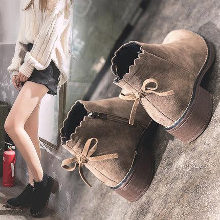 秋冬季2018新款潮小短靴女小跟韩版学生百搭低跟粗跟chic马丁靴子
