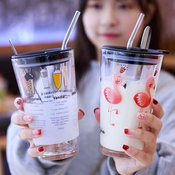 韩国清新可爱女学生刻度家用玻璃杯