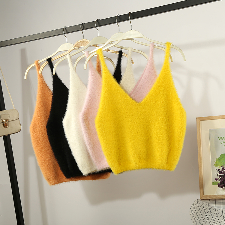 Package mail mink knitting suspender sweater vest vest womens short style wear solid Korean version versatile fit outside