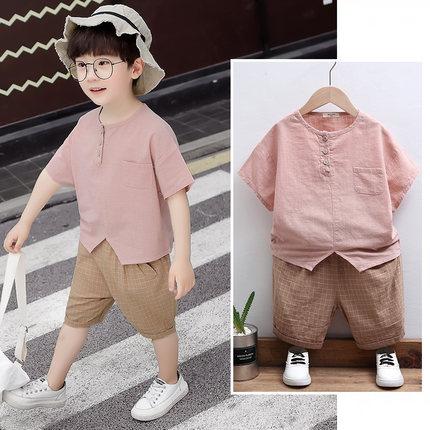 男童夏装儿童短袖套装棉麻2019夏季新款中小童装男宝宝休闲两件套