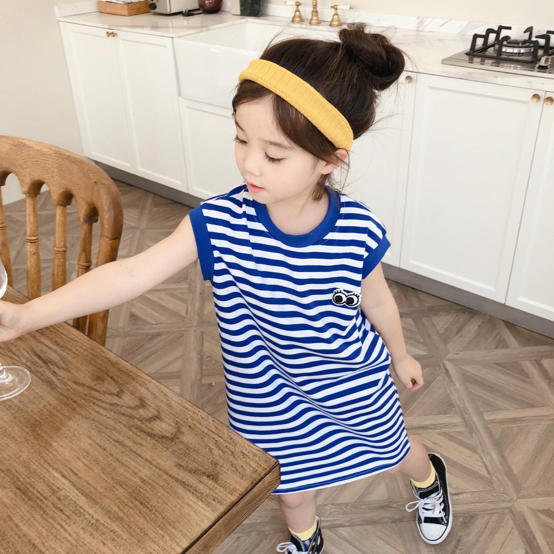 女童T恤裙2020夏季韩版宝宝中长款裙子宽松海军风套头洋气裙短袖