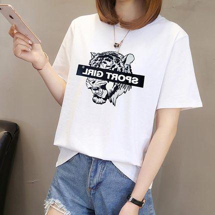 2019新款泫雅风白色女短袖ins t恤