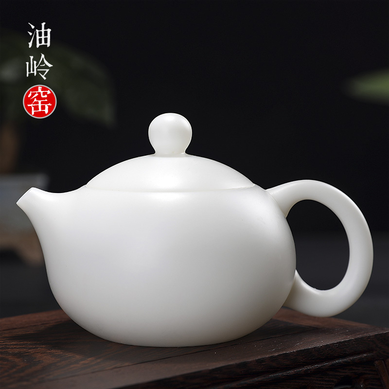 油岭窑德化白瓷素烧功夫泡茶壶单个家用陶瓷单壶大号纯手工西施壶
