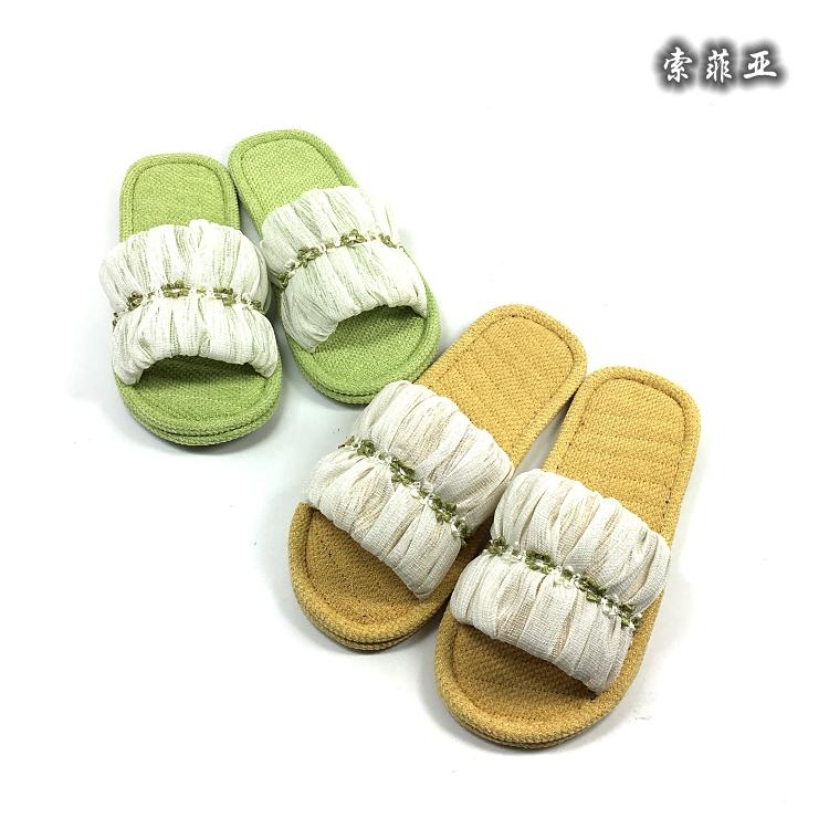 索菲亚亚派家纺高档布艺家居鞋布底拖鞋舒适无声男女地板拖鞋