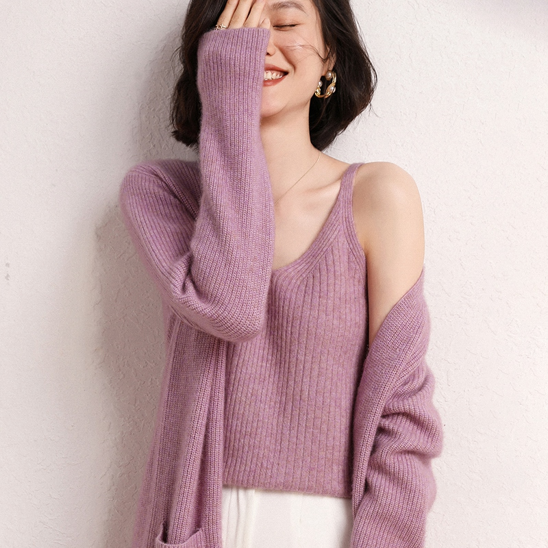 Early autumn 2020 new cashmere windbreaker long knee length cardigan cardigan Yuanbao knitted sweater coat
