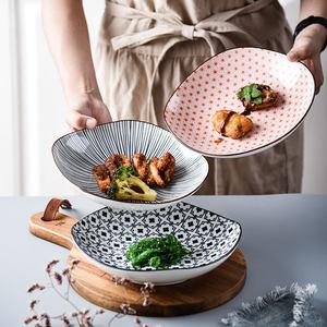 日式家用好看陶瓷菜盤子創意個性ins小清新餐盤方形8寸深菜盤飯盤