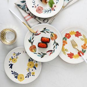 创意欧式四季珠边盘家用陶瓷糕点盘子点心盘单个现代客厅甜品餐具