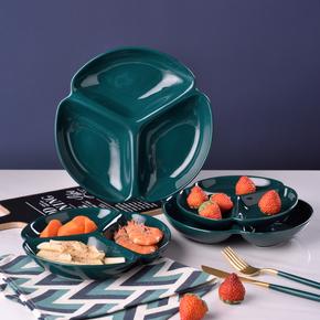 分餐盘家用大人陶瓷三格减肥分格盘一人食儿童分隔型餐盘制餐具