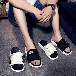 拖鞋 个性 男夏季 2021新款 情侣一字拖软底休闲潮流防滑外穿沙滩凉鞋