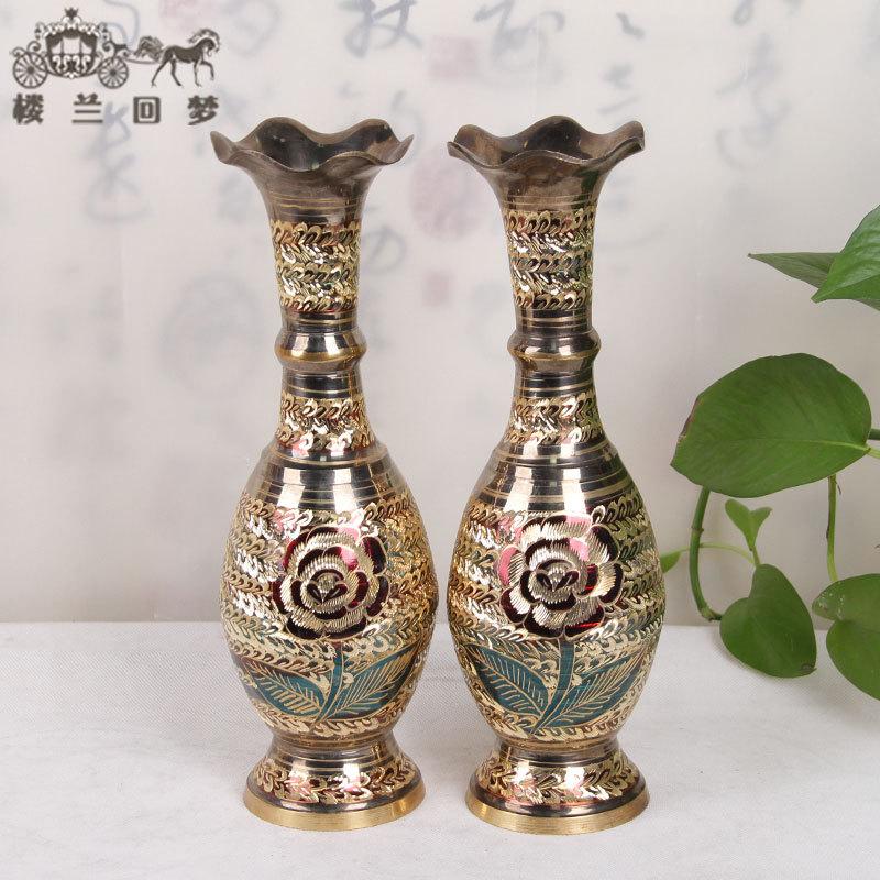 欧式铜花瓶波口14英寸民族特色手工艺品家居摆件设铜器精致铜花瓶