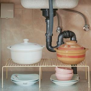 可伸缩铁艺厨房置物架下水槽橱柜碗碟架调料架家用调味品收纳架子