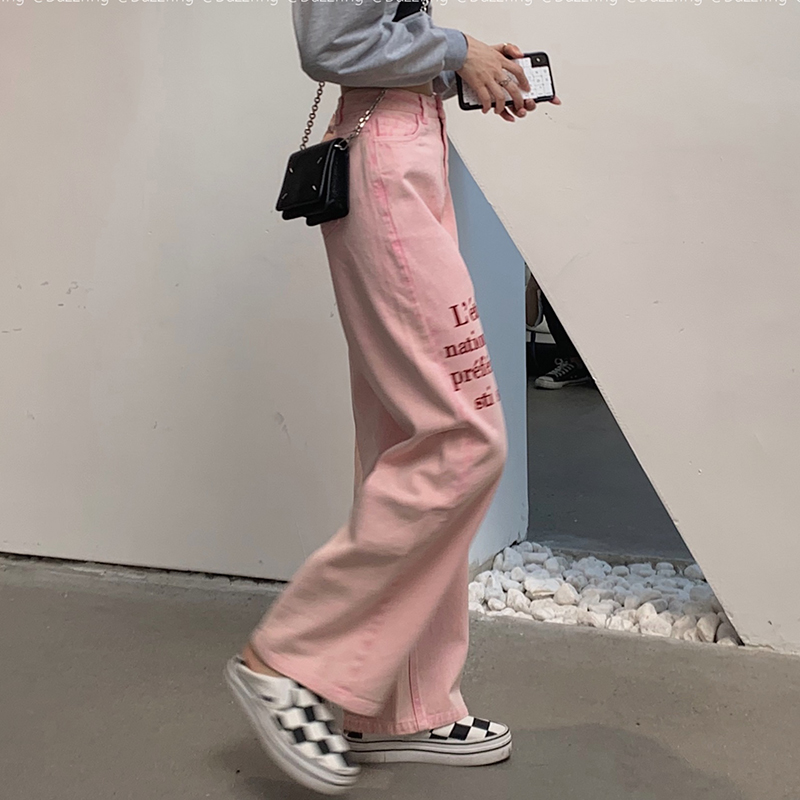 粉色牛仔长裤女高腰显瘦字母印花直筒阔腿裤子