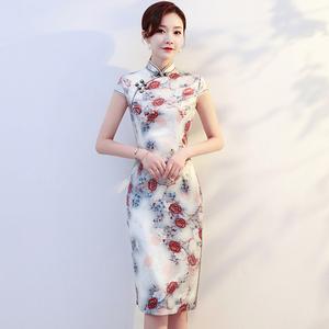 印花旗袍短款新款式日常改良时尚中国风中年女妈妈装拍照旅游
