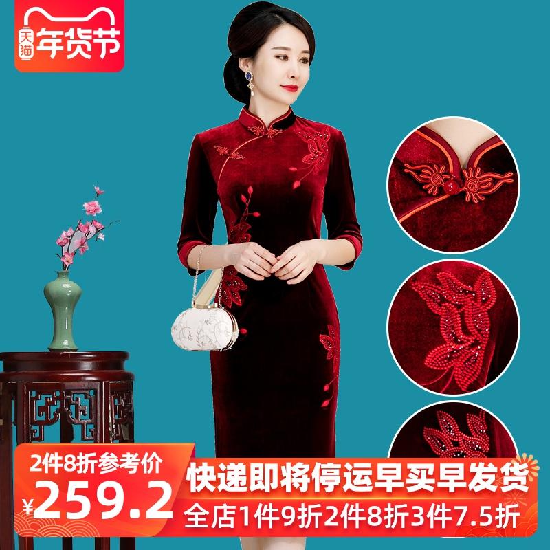 婚礼妈妈装礼服中年喜婆婆旗袍中长款母亲汉服金丝绒中-汉服婚礼(fya旗舰店仅售288元)