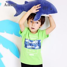 Anai Children's Clothing Boys Short Sleeve T-shirt 2018 Spring and Summer New Kids Animal Cotton Top EB821210