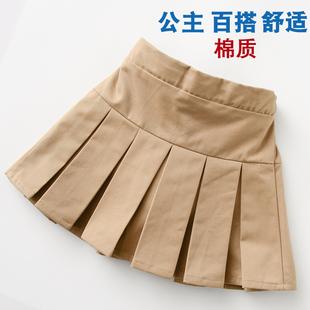 女童短裙半身裙夏裝新款學院風洋氣百褶公主裙學生卡其色校服裙子