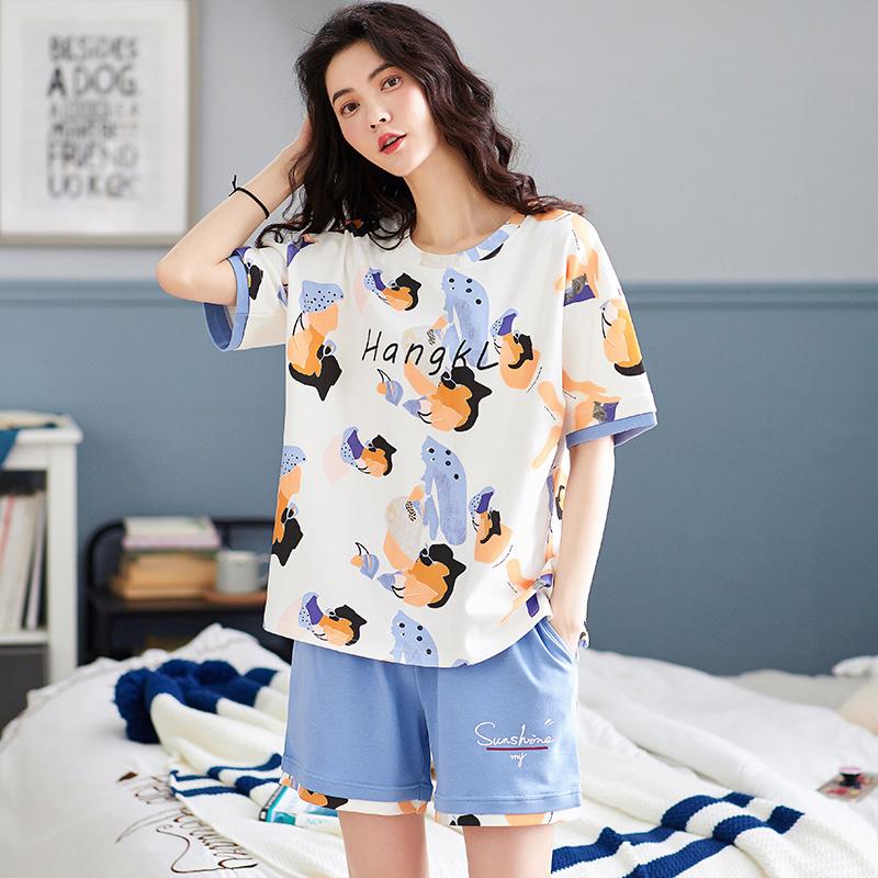 パジャマの女性の夏の薄手の純綿の半袖のショートパンツは可愛いです。